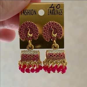 ✨ Pink Traditional Indian Drop Earrings ✨